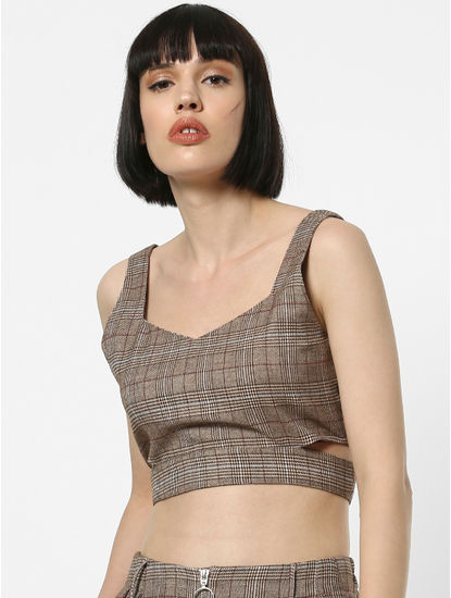 Brown Check Crop Top