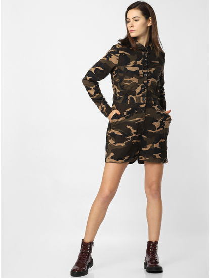 Dark Brown Camo Print Playsuit
