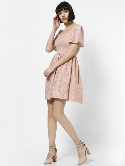 Pink Lace Smock Mini Dress
