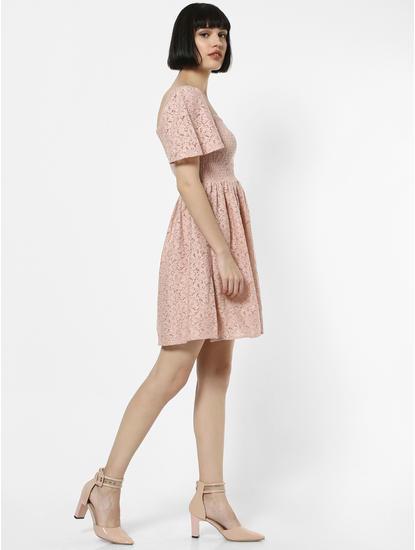 Pink Lace Smock Mini Dress