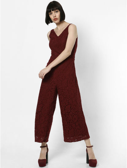 Burgundy Lace Jumpsuit