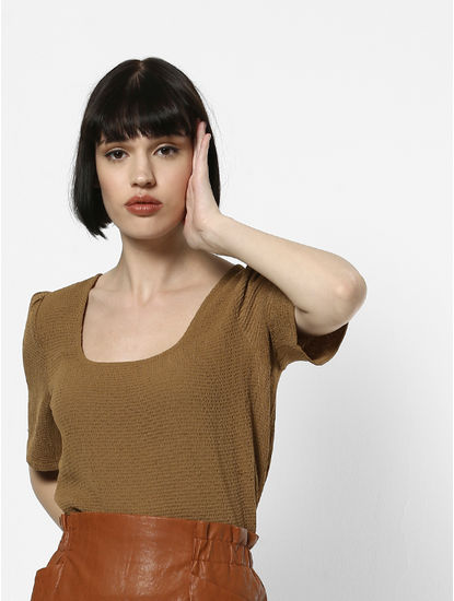 Brown Textured Top