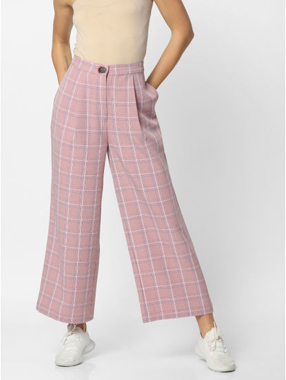 Pink Mid Rise Check Pants