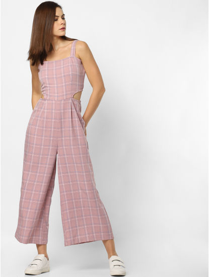 Pink Check Jumpsuit