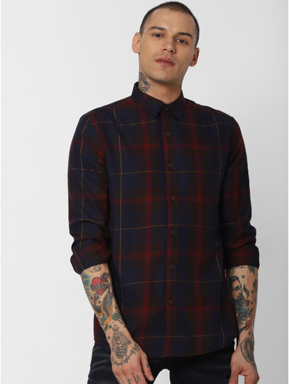 Maroon Check Full Sleeves Shirt