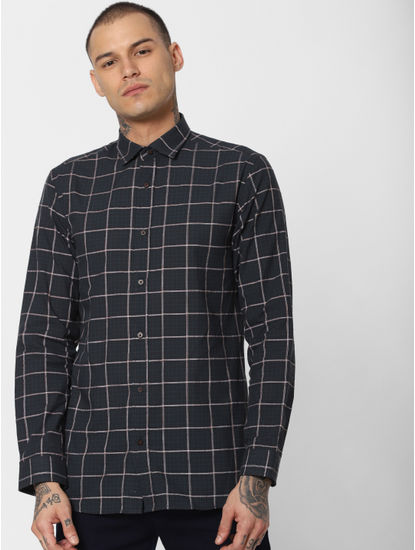 Dark Green Check Full Sleeves Shirt