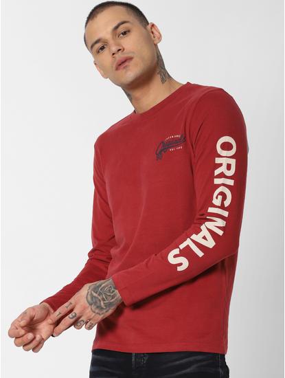Red Logo Text Print Crew Neck T-shirt