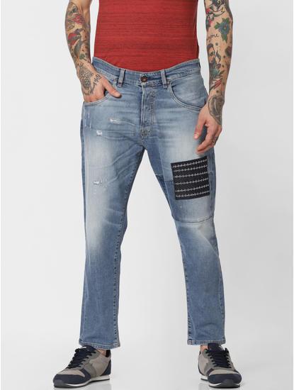Blue Patch Detail Frank Anti Fit Jeans