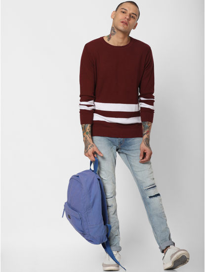 Dark Red Striped Pullover