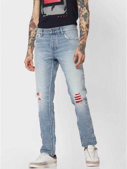 Light Blue 'KINETIC STRETCH' Tim Slim Fit Jeans