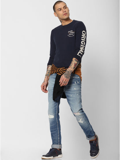 Blue Low Rise 'Kinetic Stretch' Faded Tim Slim Jeans