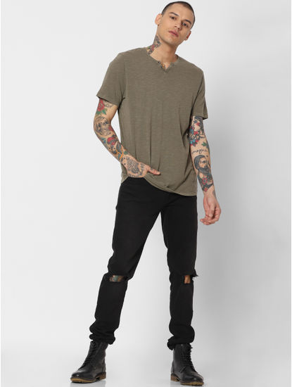 Green Washed Crew Neck T-shirt