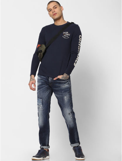 Blue Distressed Faded Tim Slim Fit Jeans