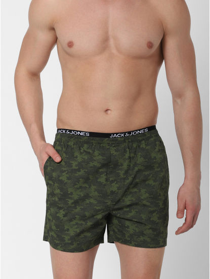Green Camo Print Boxers