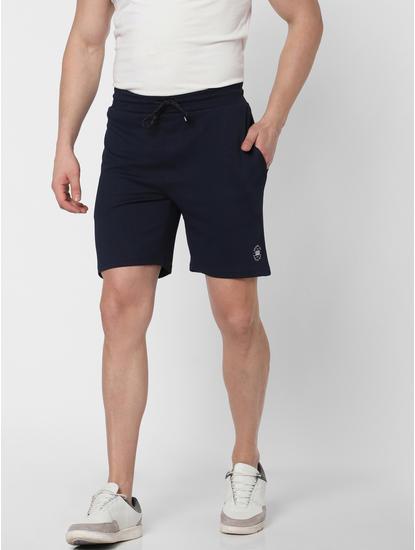 Navy Blue Logo Print Sweatshorts