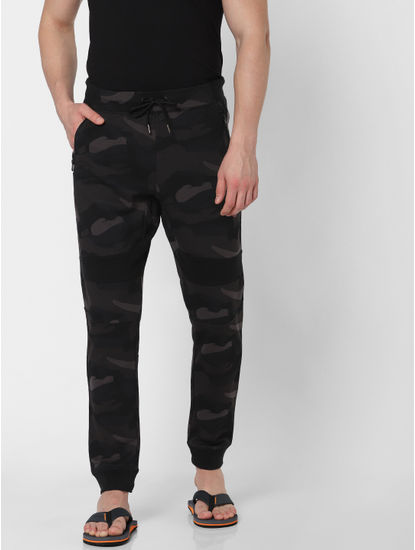 Dark Green Camo Print Trackpants