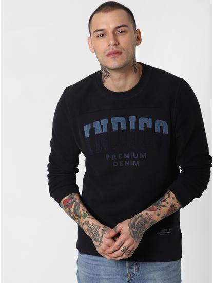 Black Embroidered Text Print Sweatshirt