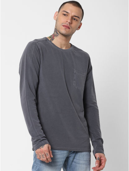 Grey Washed Crew Neck T-shirt