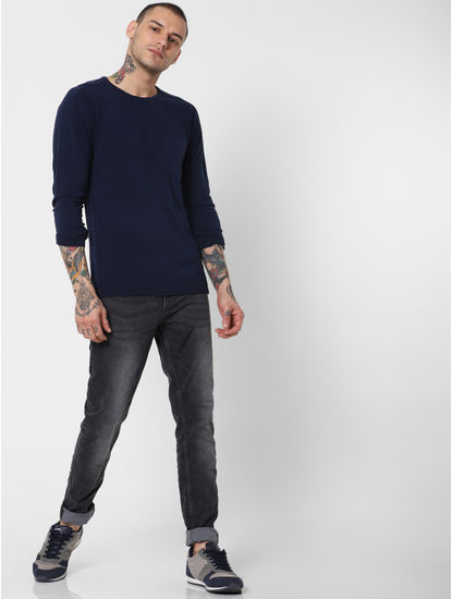 Black Low Rise Washed Glenn Slim Fit Jeans