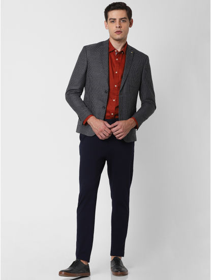 Black Houndstooth Print Slim Fit Blazer
