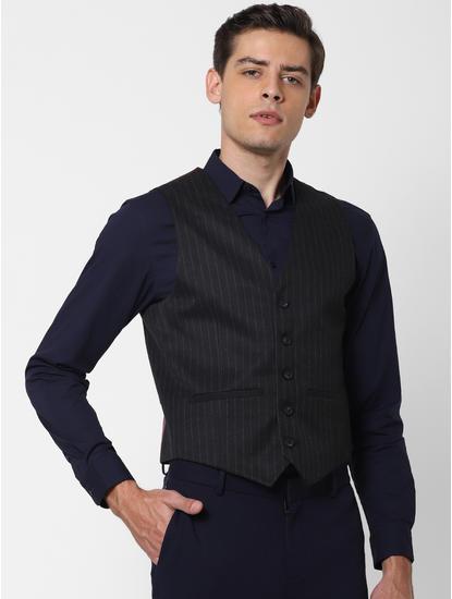 Black Striped Slim Fit Waistcoat