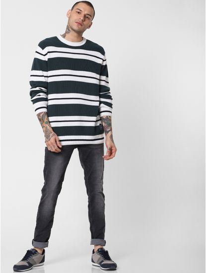Dark Green Striped Pullover