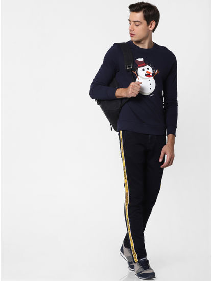 Navy Blue Snowman Graphic Sweatshirt