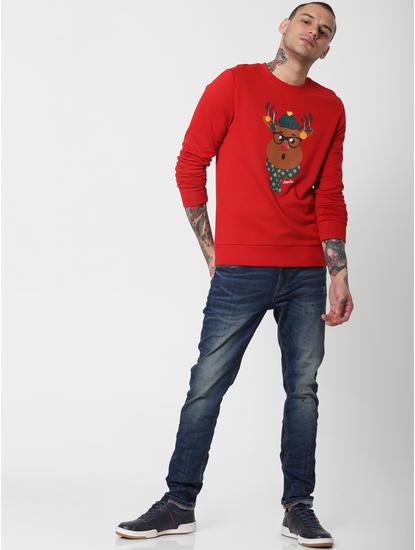 Red Reindeer Graphic Sweatshirt