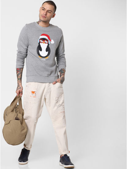 Grey Penguin Print Sweatshirt