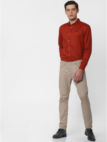 Brick Red Full Sleeves Shirt