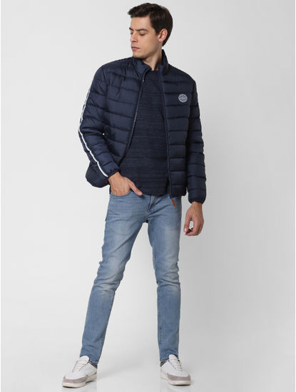 Navy Blue Tape Detail Puffer Jacket