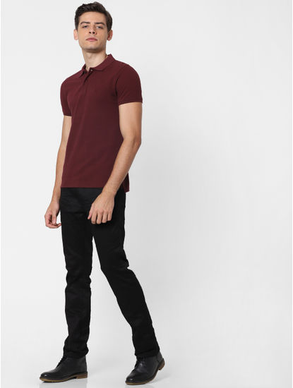 Burgundy Polo Neck T-Shirt