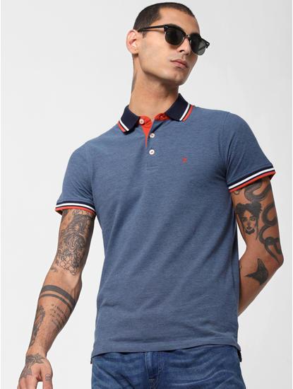 Blue Contrast Collar Polo T-shirt