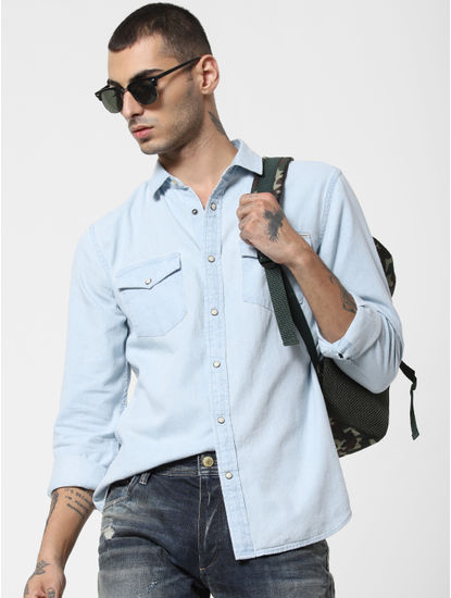 Light Blue Denim Full Sleeves Shirt