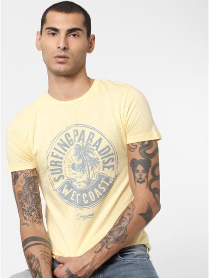Yellow Typographic Print T-shirt