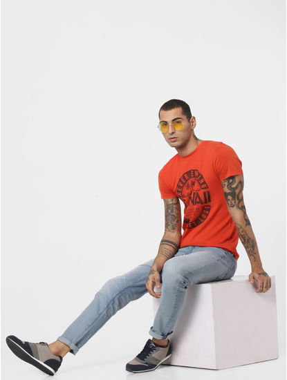 Red Typographic Print T-shirt
