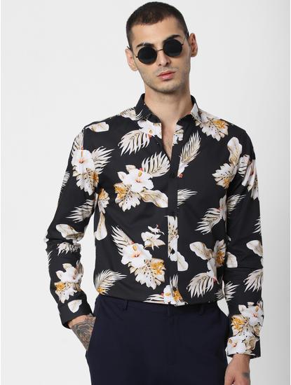 Black Floral Print Shirt