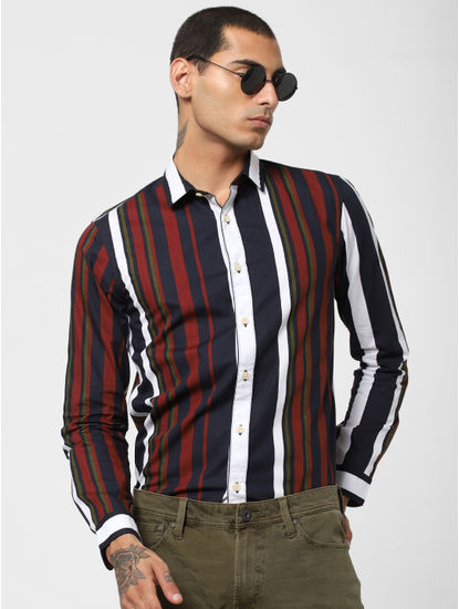 Navy Blue Striped Full Sleeves Shirt