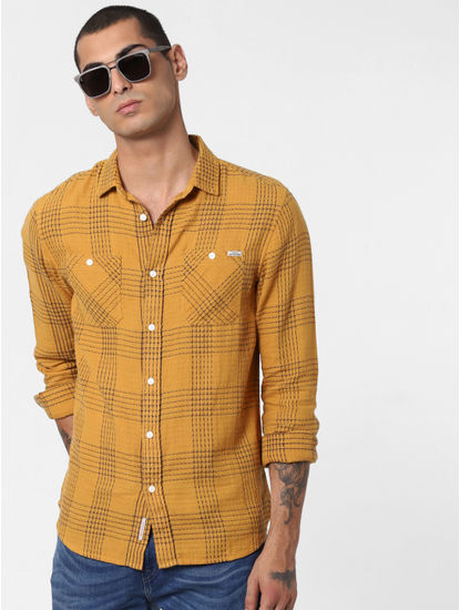 Mustard Printed Full Sleeves Shirt
