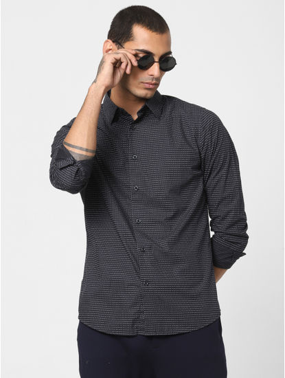 Dark Navy Printed Full Sleeves Shirt