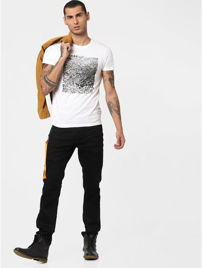 White Animal Patch Print T-shirt