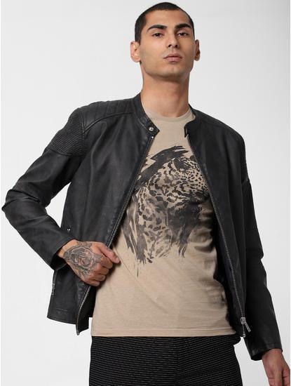 Brown Animal Patch Print T-shirt