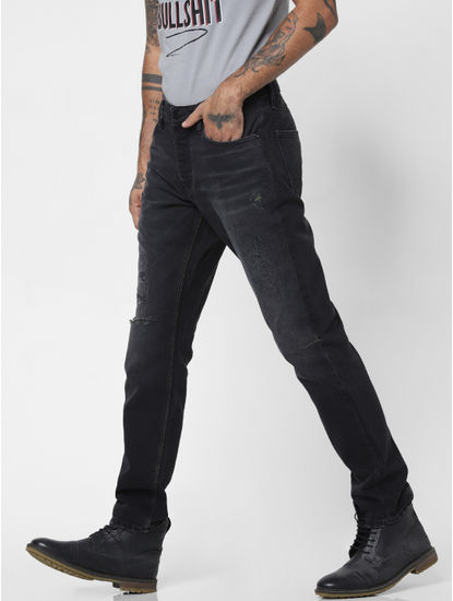 Black Low Rise Heavily Washed Tim Slim Jeans