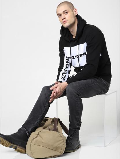 Black Colourblocked Hooded Sweatshirt