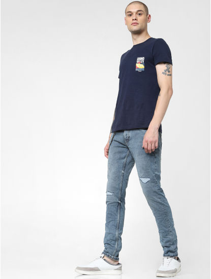 Blue Low Rise Heavily Faded Glenn Slim Jeans