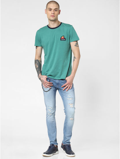 Light Blue Low Rise Distressed Liam Skinny Jeans
