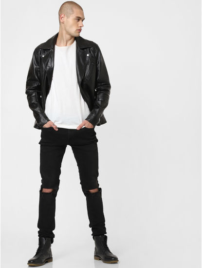 Black Zip Detailing Biker Jacket