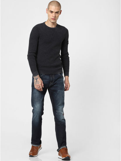 Dark Blue Low Rise Distressed Regular Fit Jeans