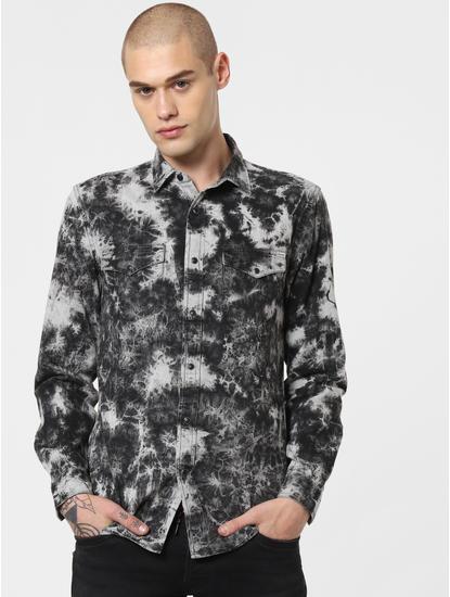 Black All Over Print Full Sleeves Shirt