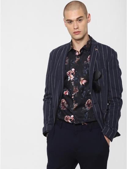 Navy Blue Floral Print Full Sleeves Shirt